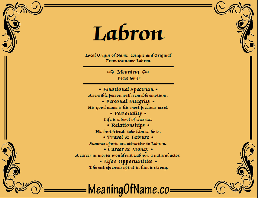 Meaning of Name Labron