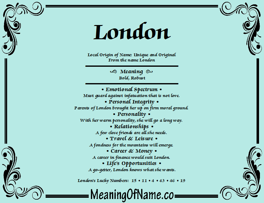 Meaning of Name London