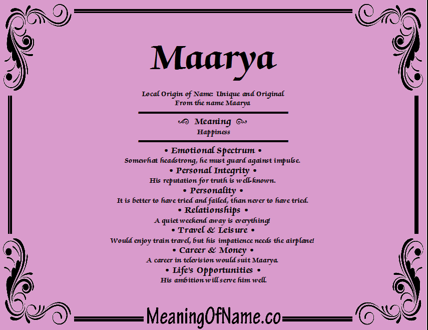 Meaning of Name Maarya