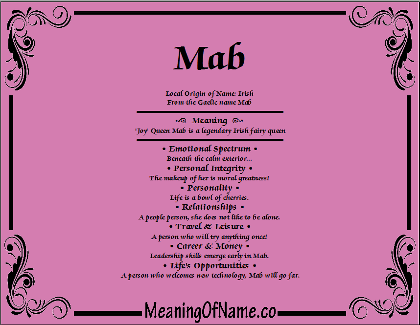 Meaning of Name Mab