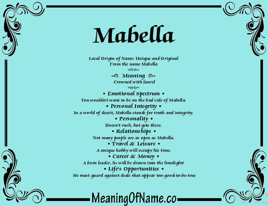 Mabella - Meaning of Name
