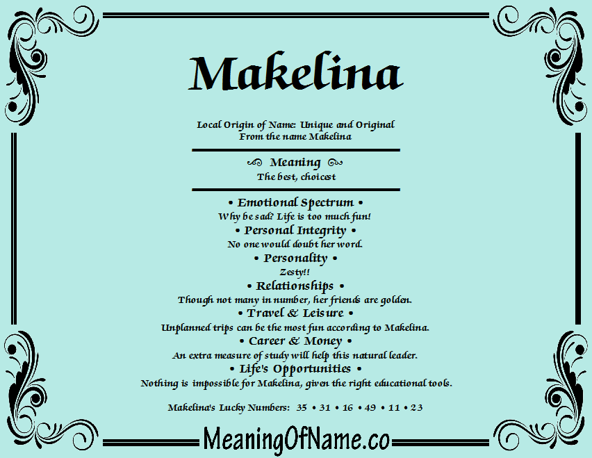 Meaning of Name Makelina