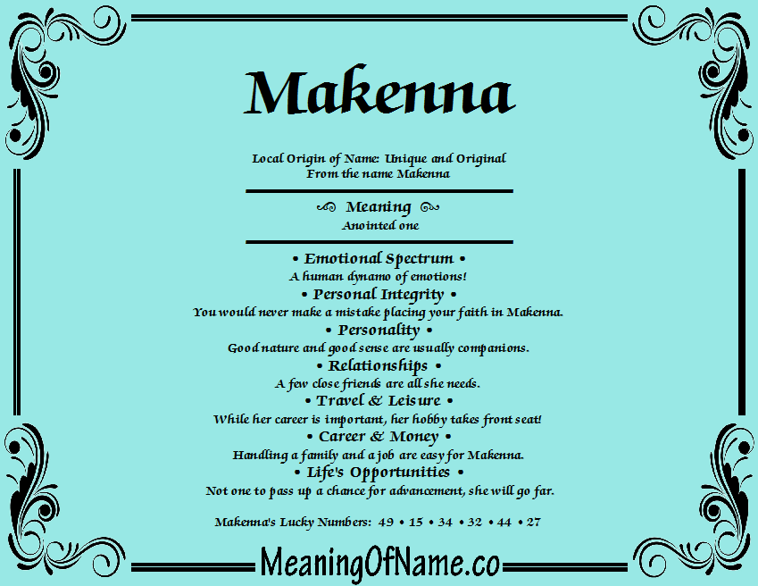 The meaning of makenna