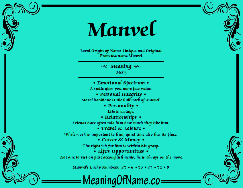 Meaning of Name Manvel