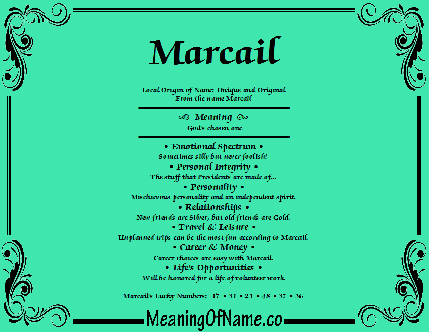 Meaning of Name Marcail