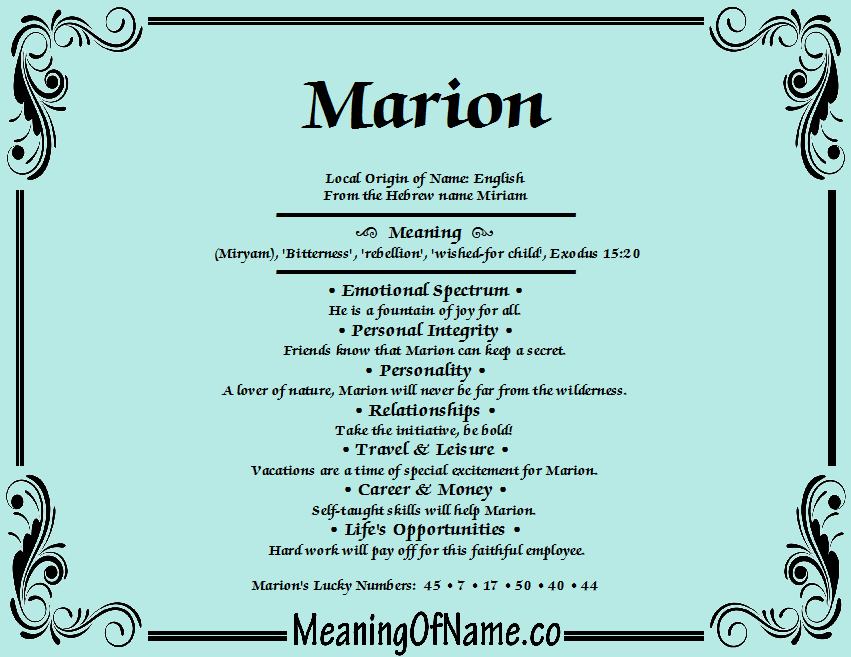 Meaning Of Marion - Wiring Diagrams •