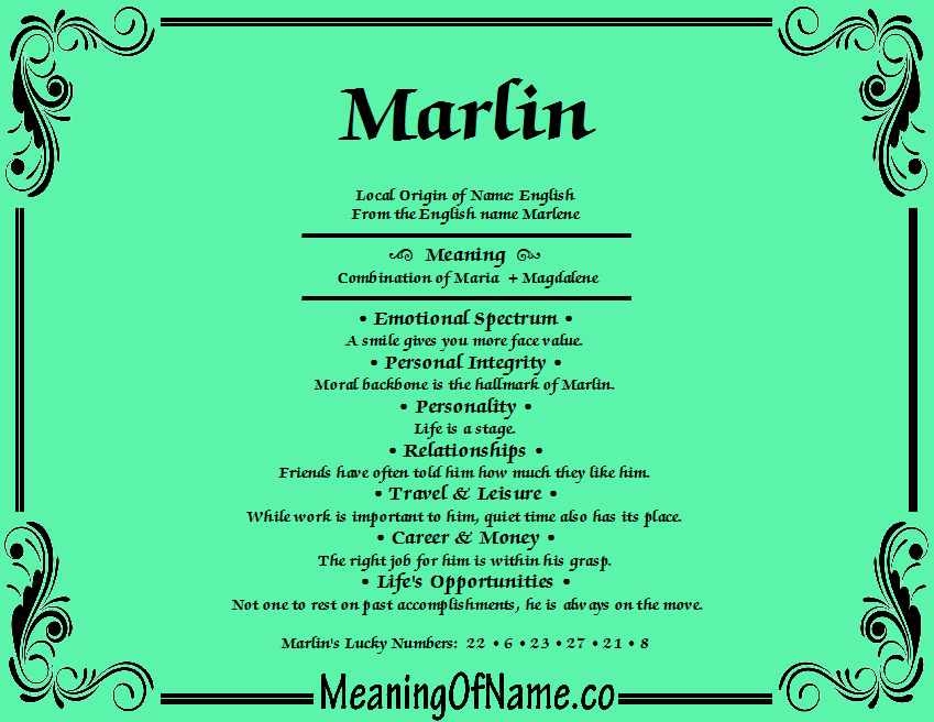Meaning of Name Marlin