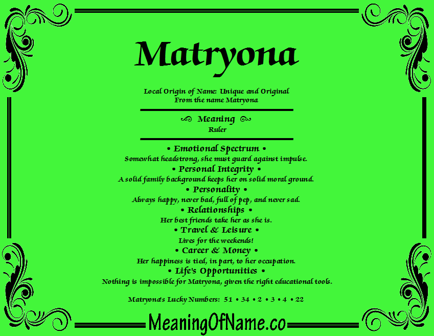 Meaning of Name Matryona