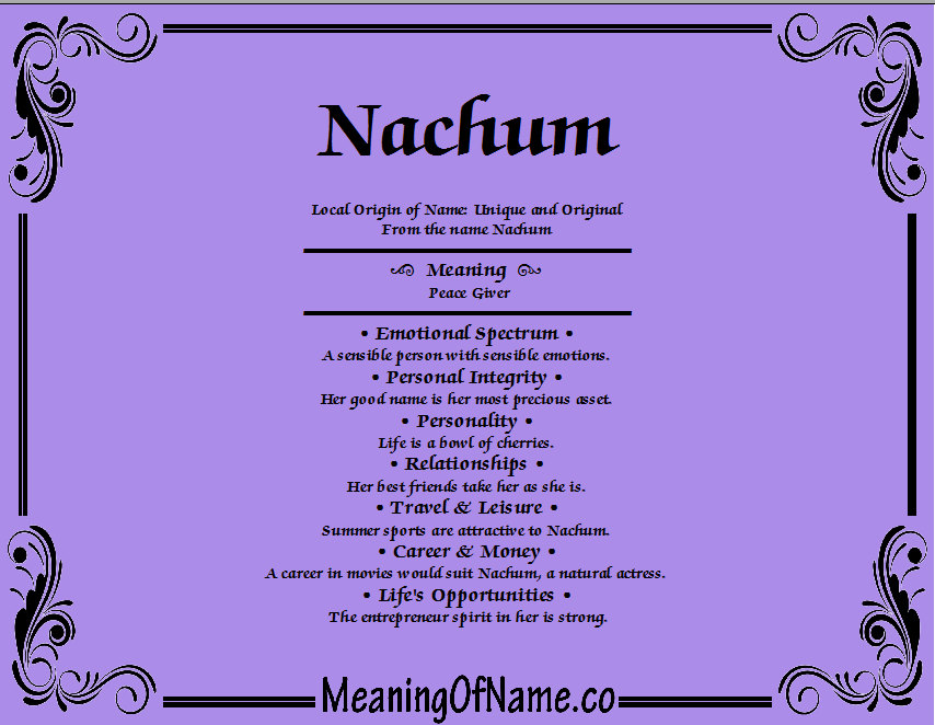 Meaning of Name Nachum