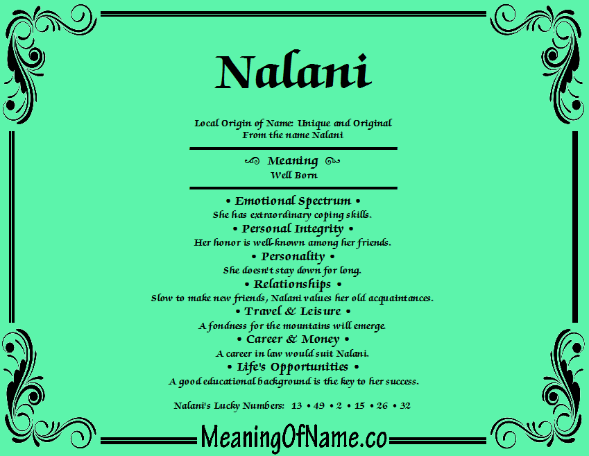 Nalani Meaning Of Name