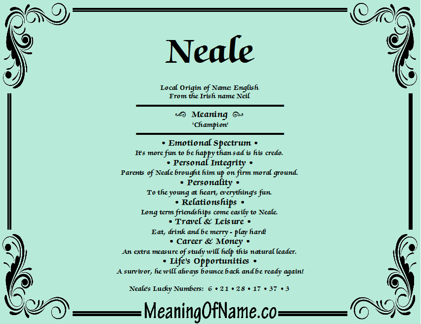 Meaning of Name Neale