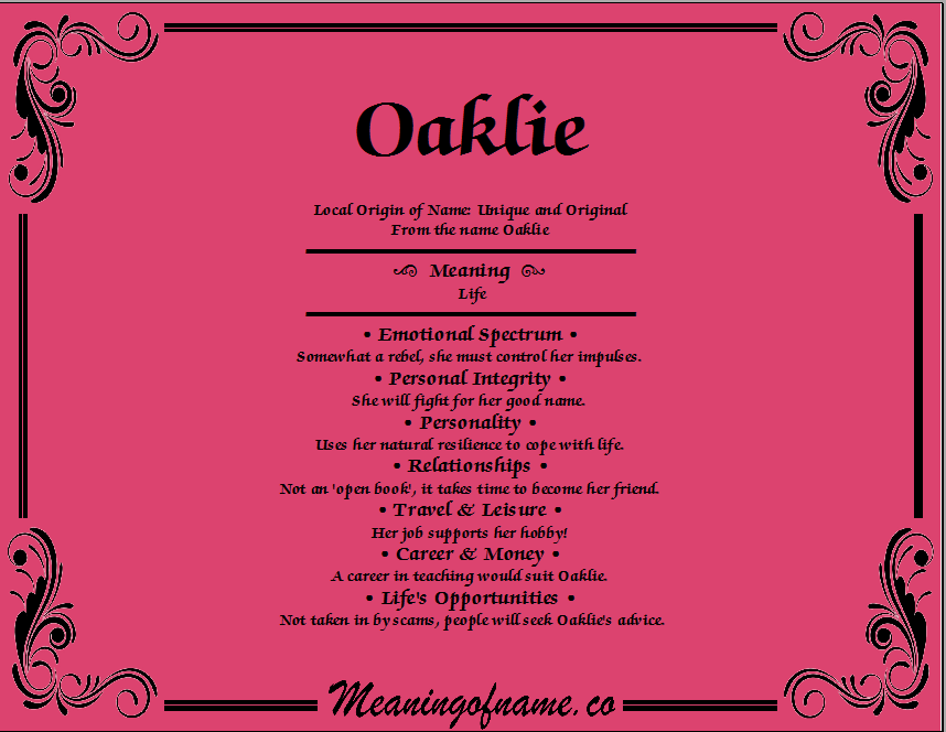 Meaning of Name Oaklie