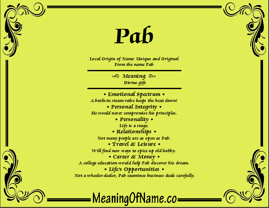 Meaning of Name Pab