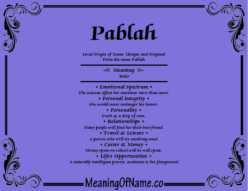 Meaning of Name Pablah