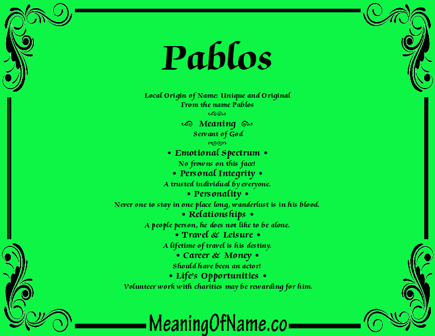 Meaning of Name Pablos