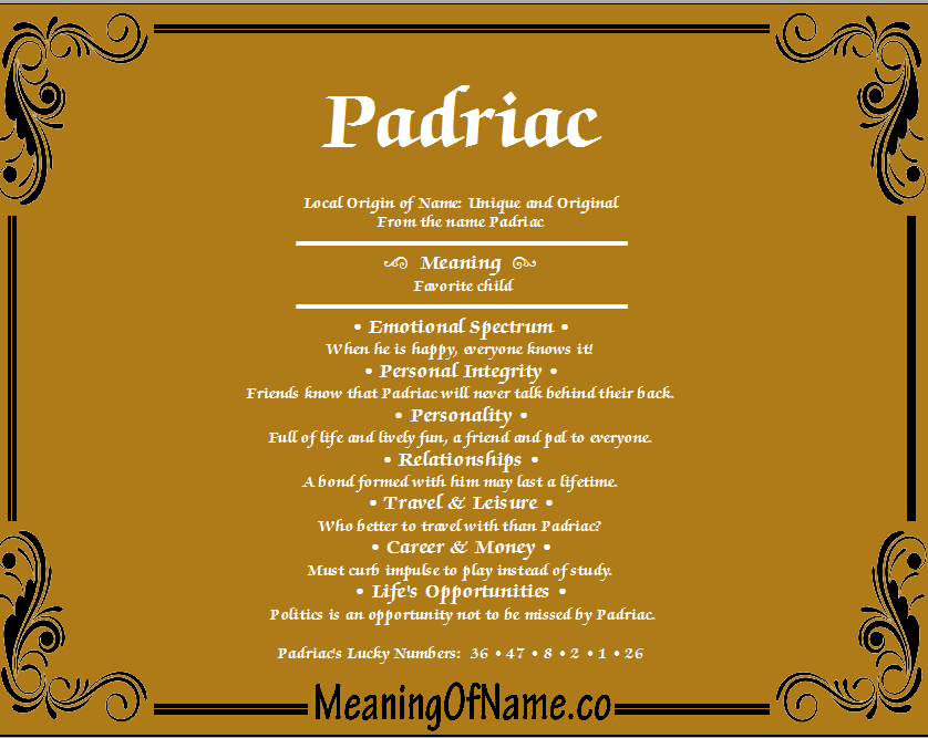 Meaning of Name Padriac