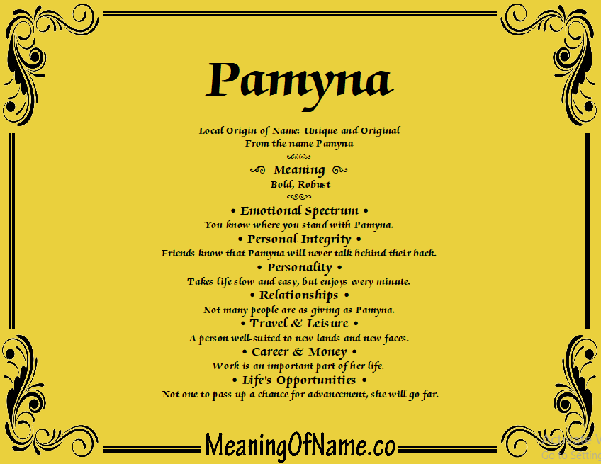 Meaning of Name Pamyna