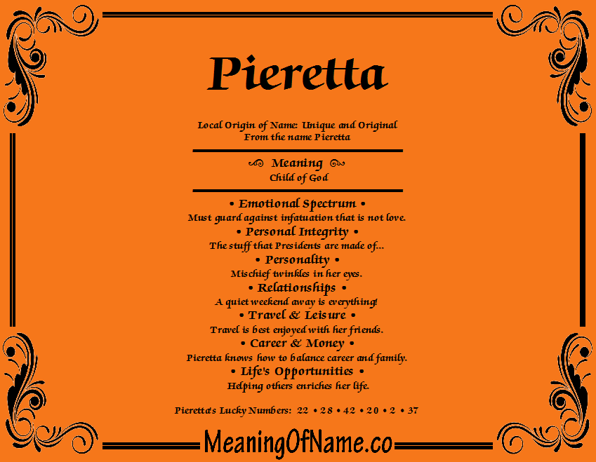 Meaning of Name Pieretta