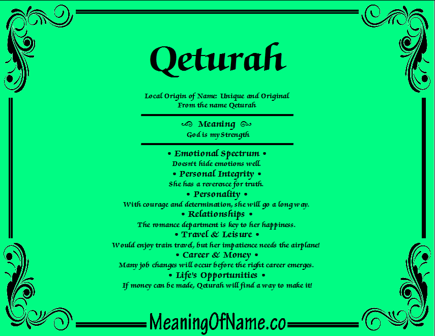 Meaning of Name Qeturah