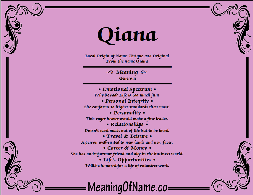 Meaning of Name Qiana