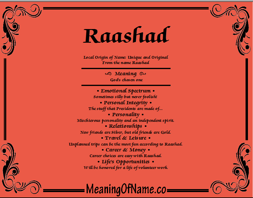 Meaning of Name Raashad