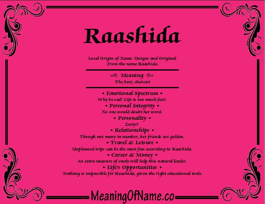 Meaning of Name Raashida