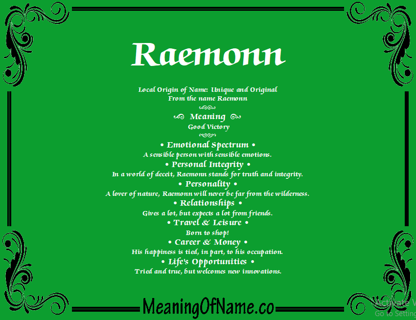 Meaning of Name Raemonn