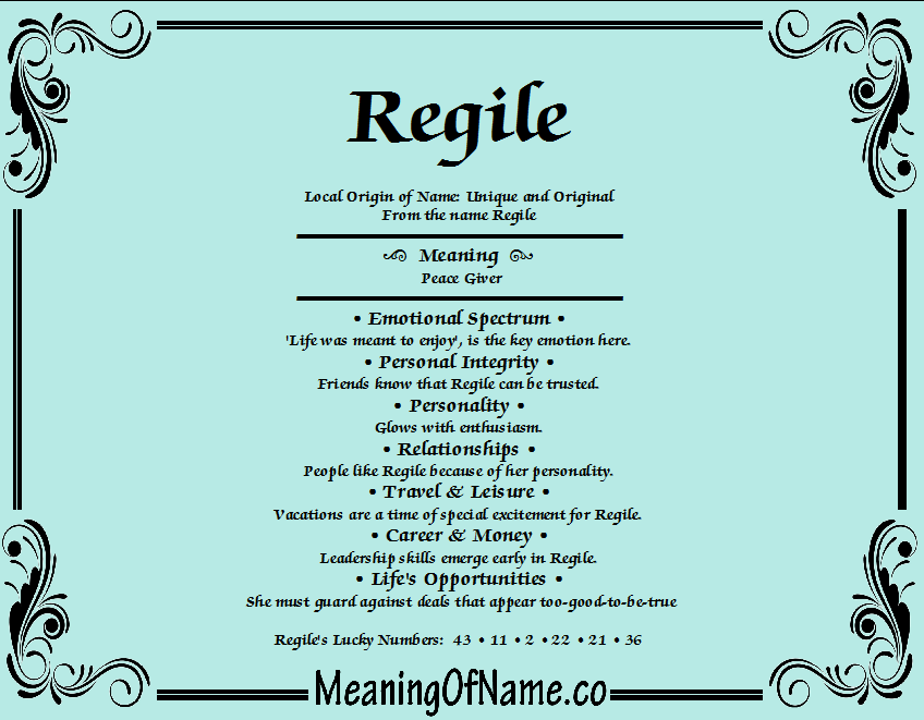 Meaning of Name Regile