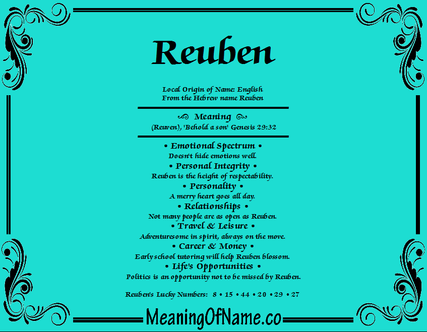Meaning of Name Reuben