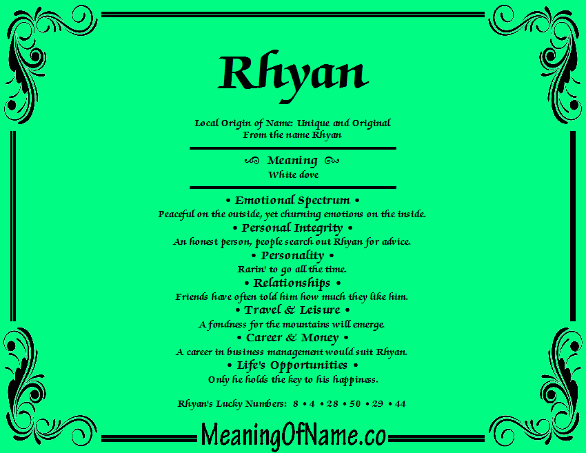 Meaning of Name Rhyan