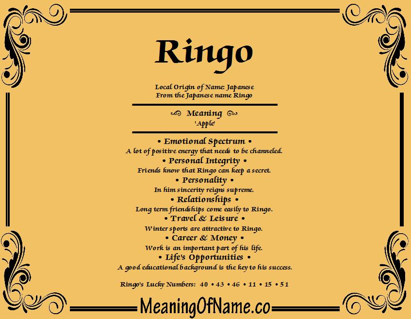 Ringo meaning of name meaning of name ringo stopboris Choice Image