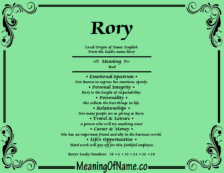Rory - Meaning of Name