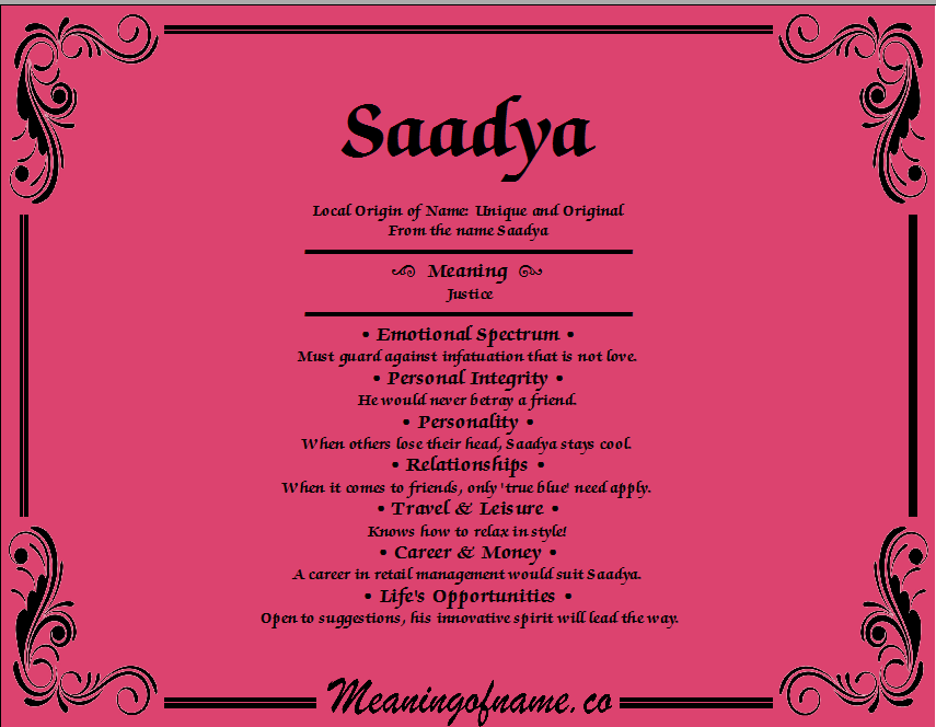 Meaning of Name Saadya