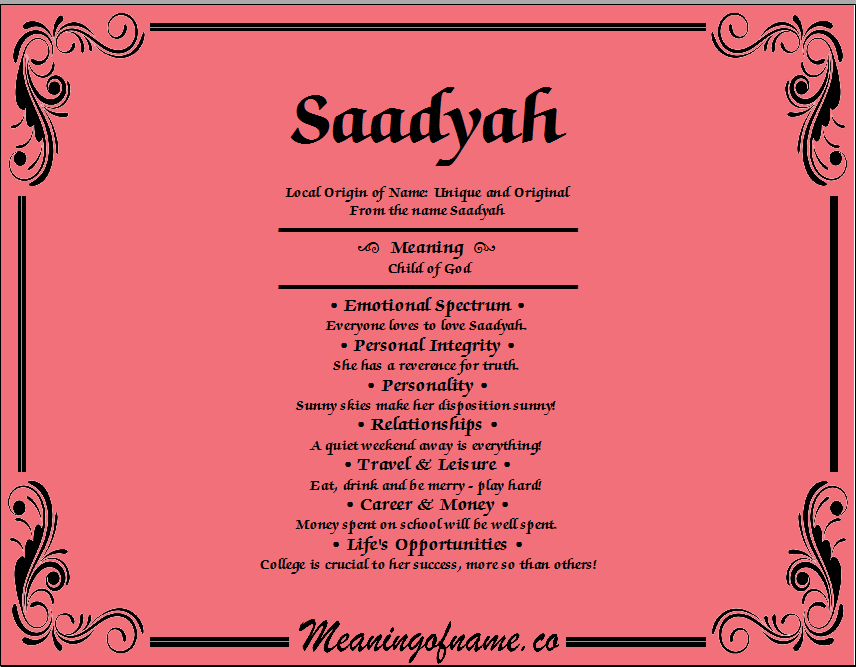 Meaning of Name Saadyah