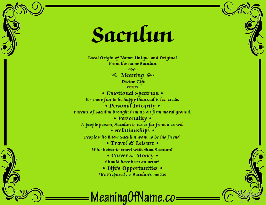 Meaning of Name Sacnlun