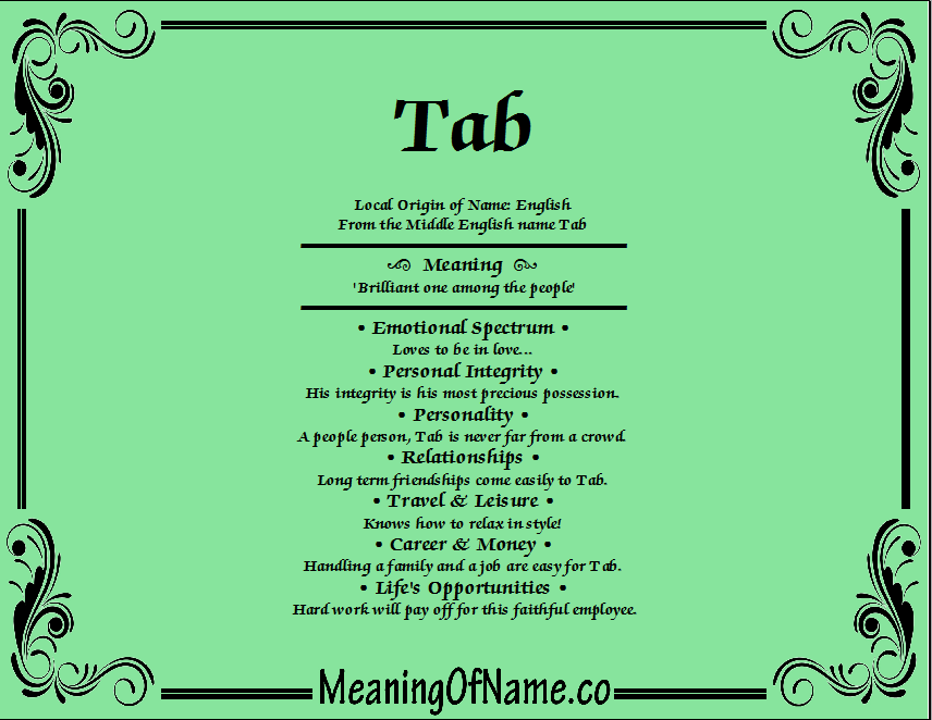 Meaning of Name Tab