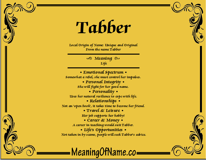 Meaning of Name Tabber