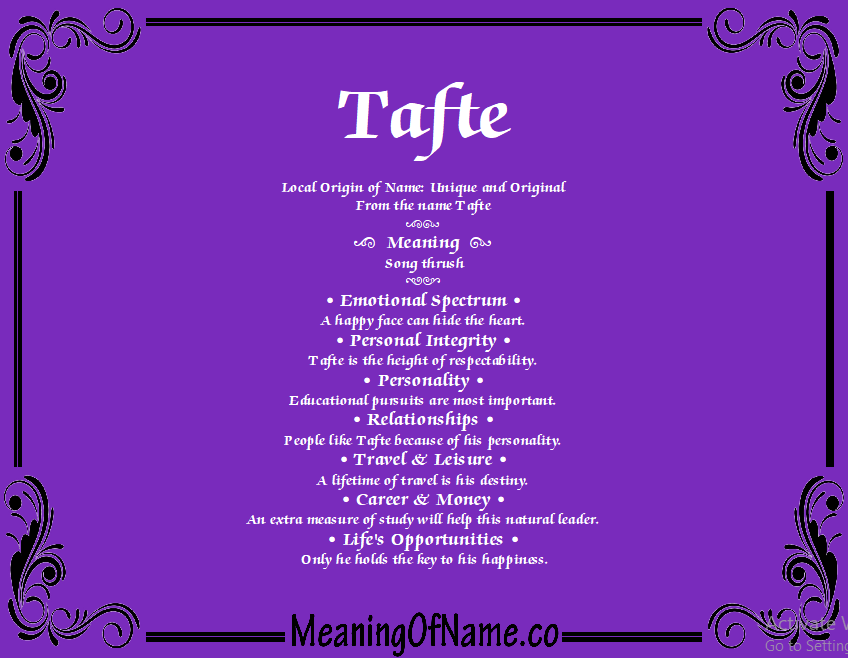 Meaning of Name Tafte