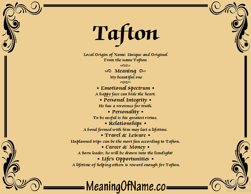 Meaning of Name Tafton