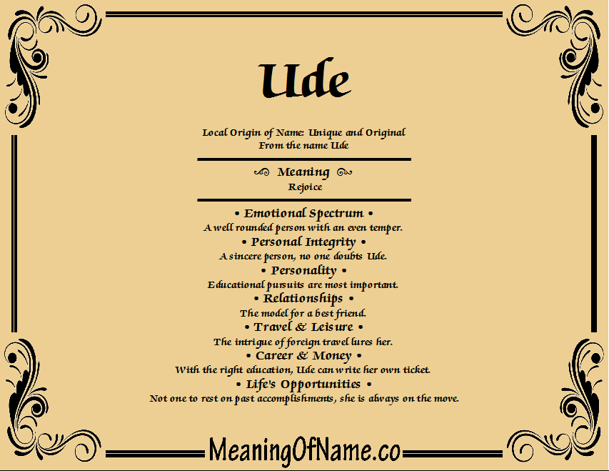 Meaning of Name Ude