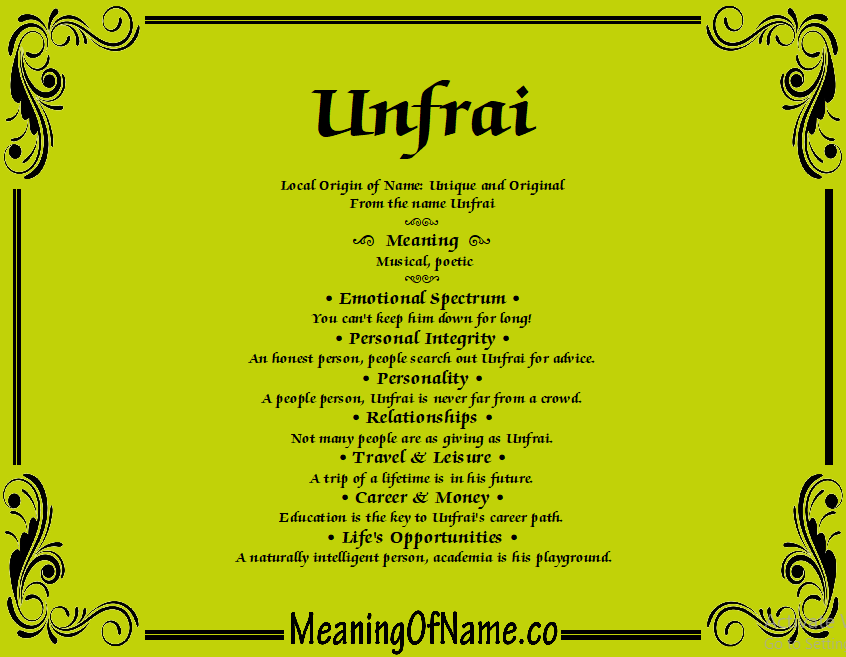 Meaning of Name Unfrai