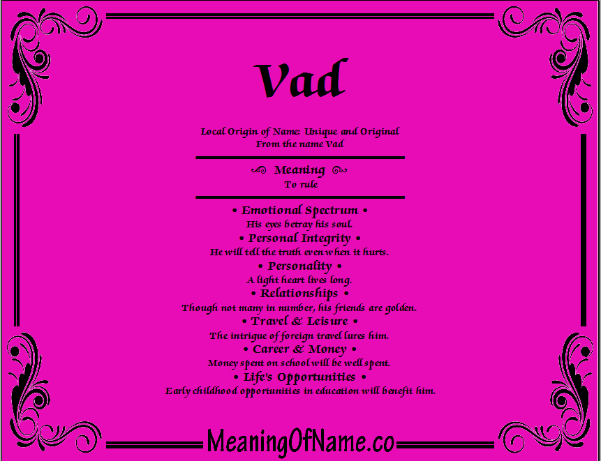Meaning of Name Vad