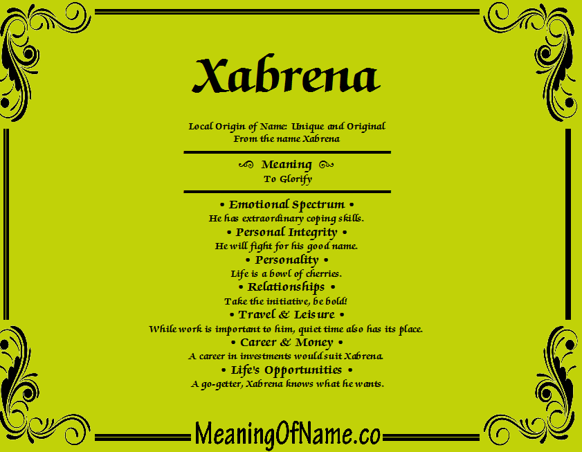 Meaning of Name Xabrena