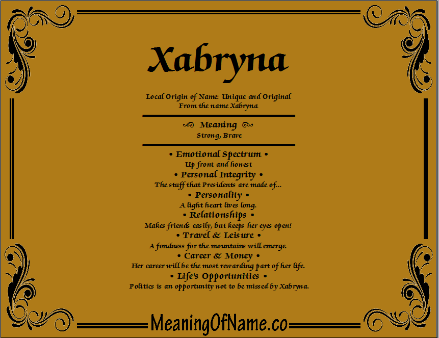 Meaning of Name Xabryna