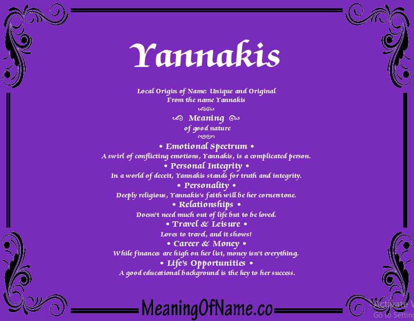 Meaning of Name Yannakis